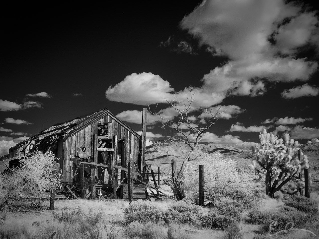 Little House in the Desert in Infrared