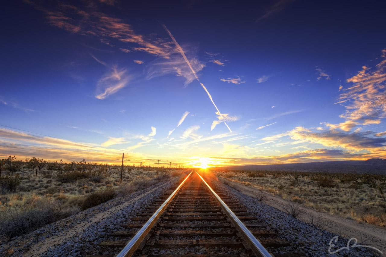 Mojave Tracks at Sunset I