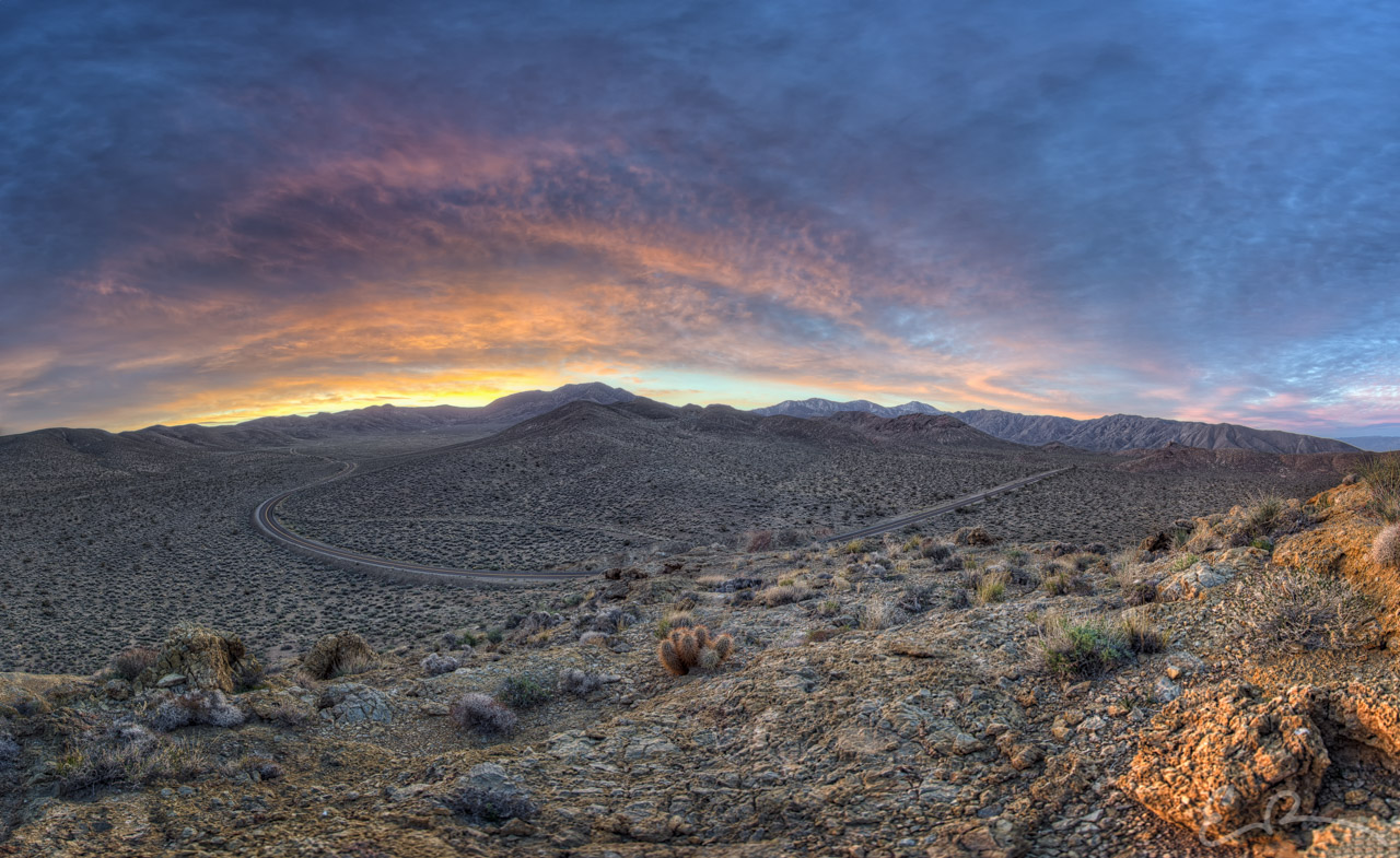 Sunrise Over Emigrant Canyon Road Panorama